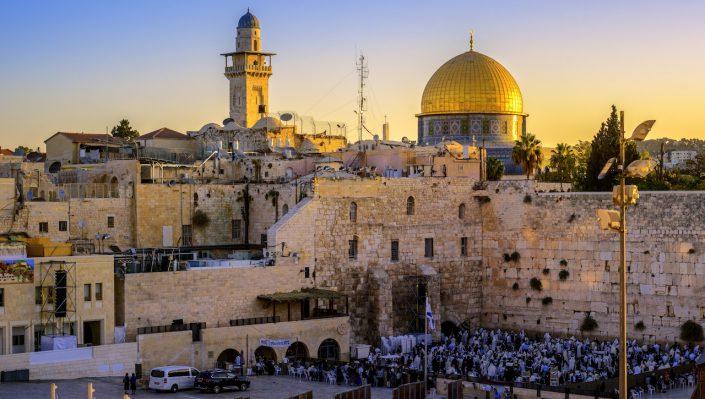 Zidul de Vest și Moscheea de la Domeul de Aur Ierusalim, Israel
