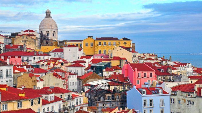 Oraș perspectivă aeriană, Lisabona vara