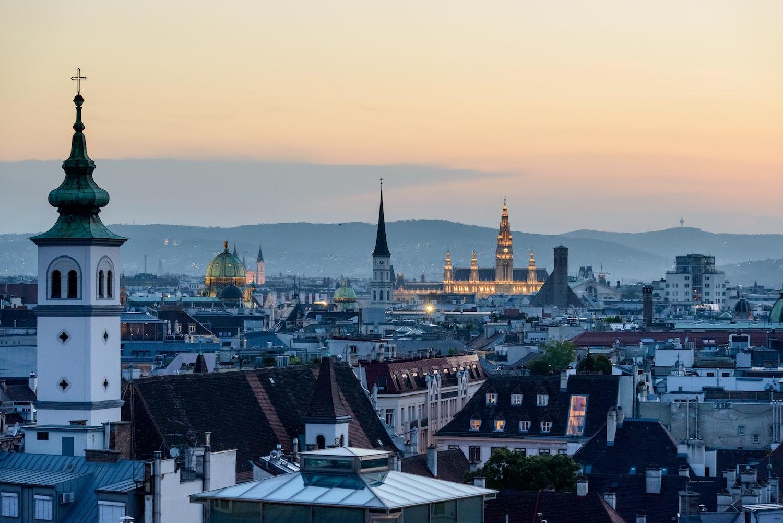 Wien, Austria, Panorama, Sunset